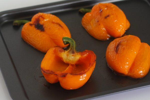 recette de chef cuisine poivron farcis au taboulé chaud, ananas et chorizo