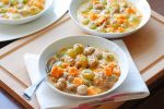 Recette de cuisine Gratin de patate douce, châtaignes et raisins blancs au lait de coco